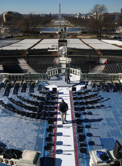 Workers make final preparations on the inaugural plattform at the U.S. Capitol Building on January 18, 2013 in Washington, DC. The U.S. Capitol is preparing for the second inauguration of U.S. President Barack Obama, which will take place on January 21. (Mark Wilson/Getty Images)