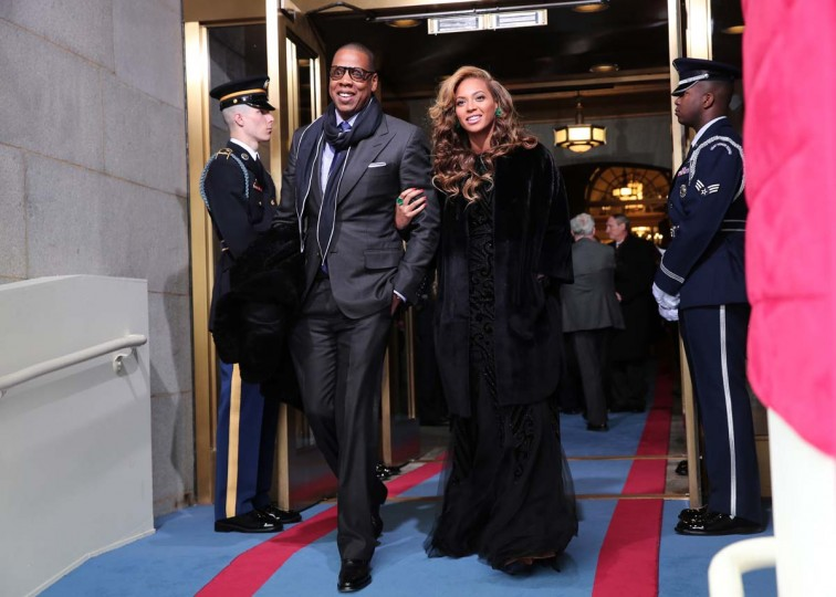 Recording artists Jay-Z and Beyonce arrive at the presidential inauguration on the West Front of the U.S. Capitol January 21, 2013 in Washington, DC. (Win McNamee/Getty Images)