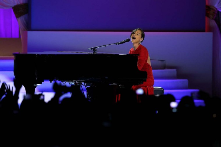Singer Alicia Keys performs during the Public Inaugural Ball at the Walter E. Washington Convention Center on January 21, 2013 in Washington, DC. (Mario Tama/Getty Images)