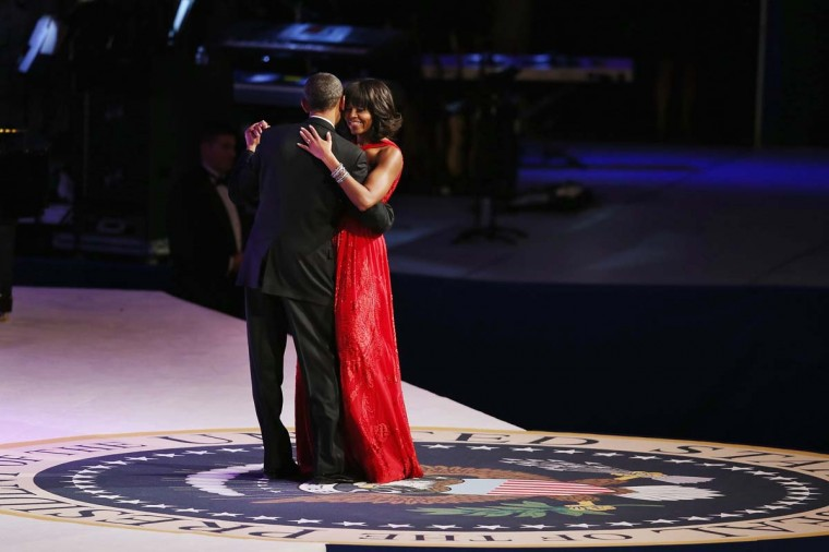 U.S. President Barack Obama and first lady Michelle Obama dance during the Commander-In-Chief Ball at the Walter Washington Convention Center January 21, 2013 in Washington, DC. (Chip Somodevilla/Getty Images)