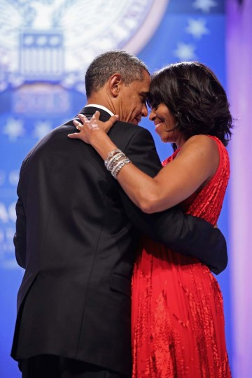 U.S. President Barack Obama and first lady Michelle Obama dance together during the Commander-In-Chief's Ball at the Walter Washington Convention Center January 21, 2013 in Washington, DC. (Chip Somodevilla/Getty Images)