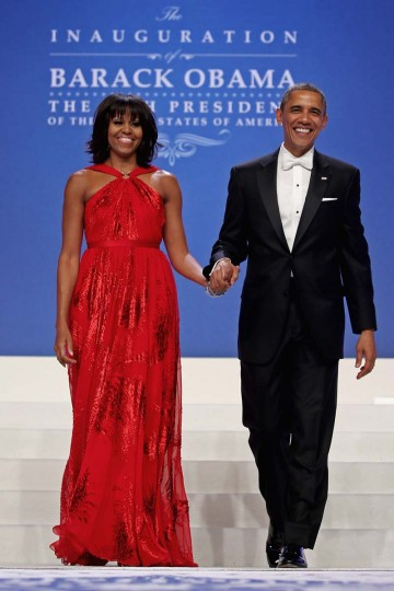 U.S. President Barack Obama and first lady Michelle Obama arrive for the Comander-in-Chief's Inaugural Ball at the Walter Washington Convention Center January 21, 2013 in Washington, DC. (Chip Somodevilla/Getty Images)