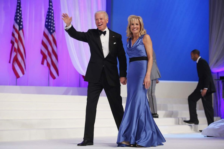 U.S. Vice President Joe Biden and Dr. Jill Biden wave goodbye after dancing during the Comander-in-Chief's Inaugural Ball at the Walter Washington Convention Center January 21, 2013 in Washington, DC. (Chip Somodevilla/Getty Images)