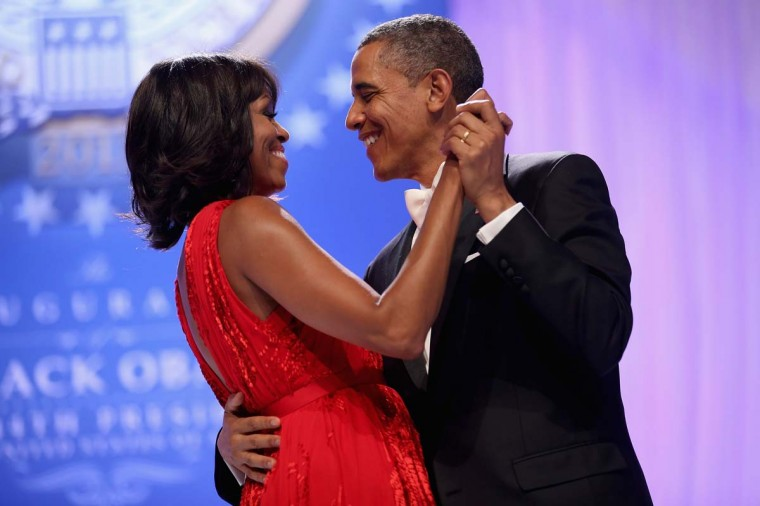 U.S. President Barack Obama and first lady Michelle Obama dance together during the Comander-in-Chief's Inaugural Ball at the Walter Washington Convention Center January 21, 2013 in Washington, DC. Obama was sworn-in for his second term of office earlier in the day. (Chip Somodevilla/Getty Images)