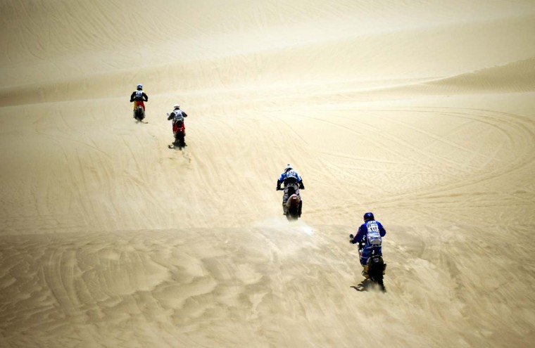 Riders compete during the Stage 1 of the Dakar 2013 between Lima and Pisco, Peru, on January 5, 2013. The rally will take place in Peru, Argentina and Chile from January 5 to 20. (Franck Fife/AFP/Getty Images)