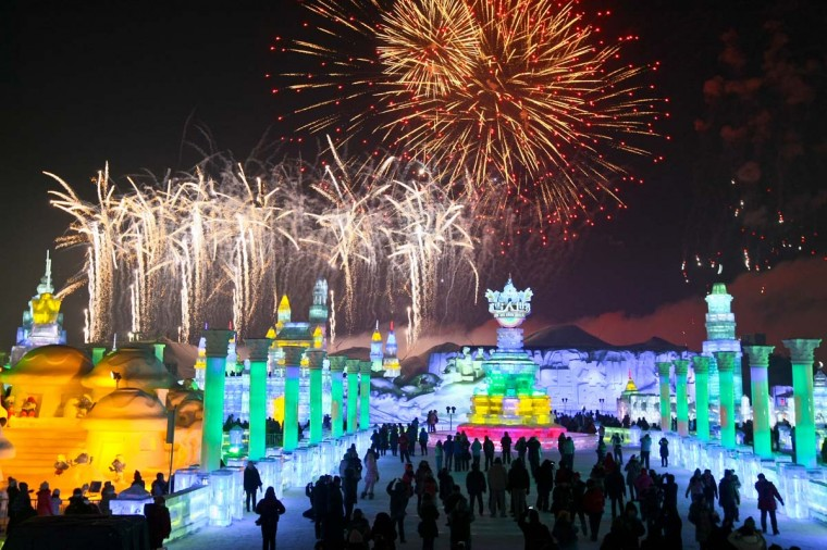 This picture taken on January 5, 2013 shows people visiting Ice and Snow World at the opening ceremony of the 2013 Harbin Internatoinal Ice and Snow Festival in Harbin, in northeast China's Heilongjiang province. (STR/AFP/Getty Images)