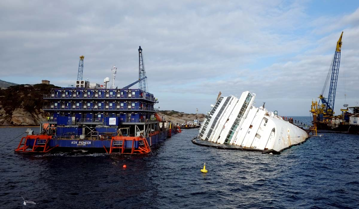 2013: The Costa Concordia cruise ship lays aground on January 12, 2013