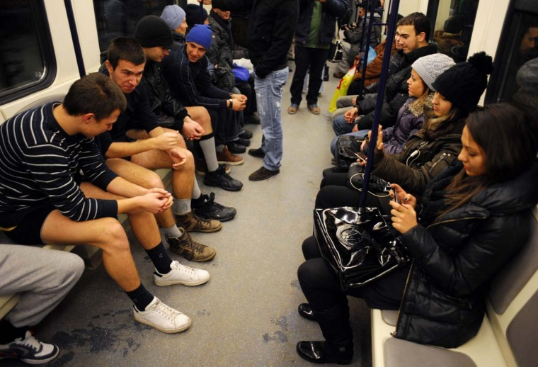 People sit in underwear in the Sofia City subway as they take part in the 2013 No Pants Subway Ride on January 13, 2013 in the Bulgarian capital. The No Pants Subway Ride, in its 12th year, still surprises passengers on public transit and is spreading to many cities across the globe. (Nikolay Doychinov/AFP/Getty Images)