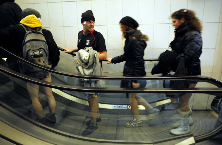 People take an escalator in underwear in the Sofia City subway as they take part in the 2013 No Pants Subway Ride on January 13, 2013 in the Bulgarian capital. The No Pants Subway Ride, in its 12th year, still surprises passengers on public transit and is spreading to many cities across the globe. (Nikolay Doychinov/AFP/Getty Images)