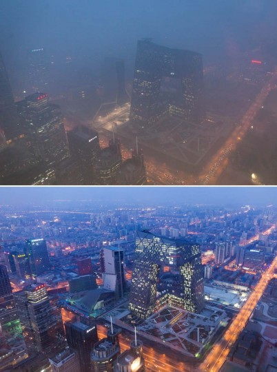 This combination of photos shows (top) the Beijing skyline during severe pollution on January 14, 2013, and the same view (bottom) taken during clear weather on February 4, 2012. Dense smog shrouded the city with pollution at hazardous levels for a fourth day and residents were advised to stay indoors. (Ed Jones/AFP/Getty Images)