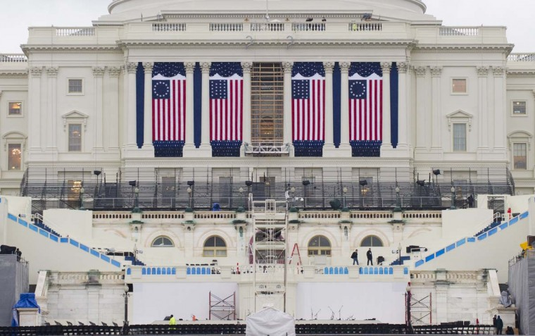 Preparations continue for the Presidential Inauguration on the West Front of the U.S. Capitol in Washington, DC, on January 16, 2013. US President Barack Obama will be ceremonially sworn-in for a second term on January 21. (Saul Loeb/AFP/Getty Images)