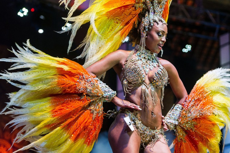 The new first Princess of Sao Paulo's Carnival, Kimberlyn Muriel Adabe Santos, dances during the competition for new King, Queen and Princess of the Carnival parade in Sao Paulo, Brazil, late on January 17, 2013. Sao Paulo's carnival is scheduled for February 8 and 9. (Yasuyoshi Chiba/AFP/Getty Images)