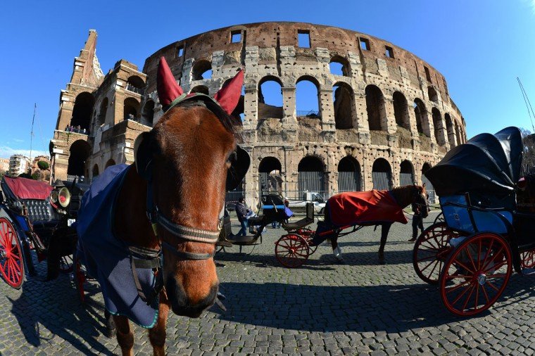 Horse carriages wait in front of the Colosseum in Rome. Traces of decorations in blue, red and greenwere found in a corridor currently closed to the public while archaeologists were working to restore an area between the second and third floor of the Colosseum, which has fallen into disrepair in recent years. (Gabriel Bouys/AFP/Getty Images)