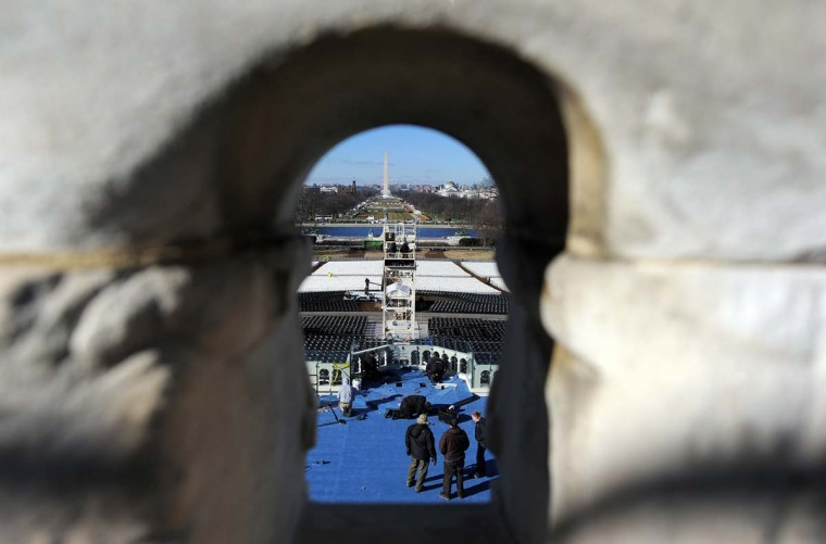 Workers set up the main stage at the U.S. Capitol as preparations continue for the second inauguration of U.S. President Barack Obama in Washington on January 18, 2013. (Jewel Samad/AFP/Getty Images)