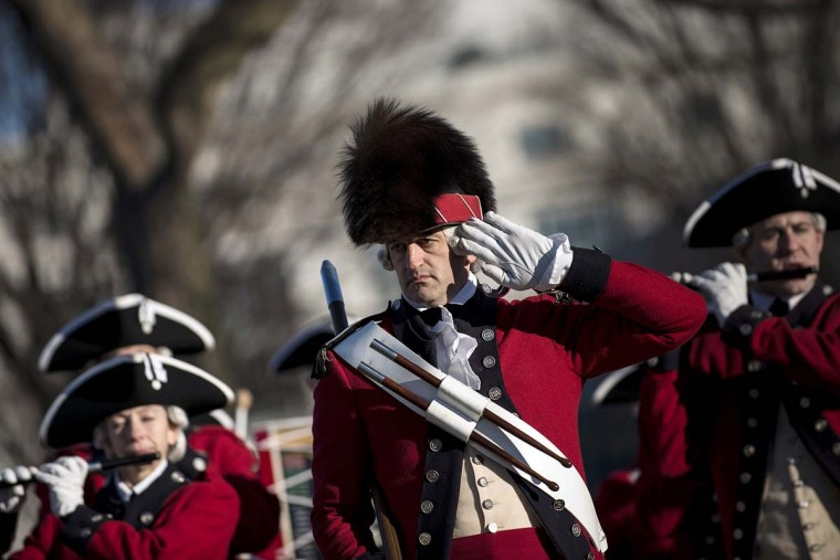 Members of the US Army's Old Guard's Fife and Drum Corps perform on the National Mall, January 19, 2013 in Washington, DC. Preparations for this Monday's ceremonial inauguration for US President Barack Obama's second term continue. (Brendan Smialowski/AFP/Getty Images)
