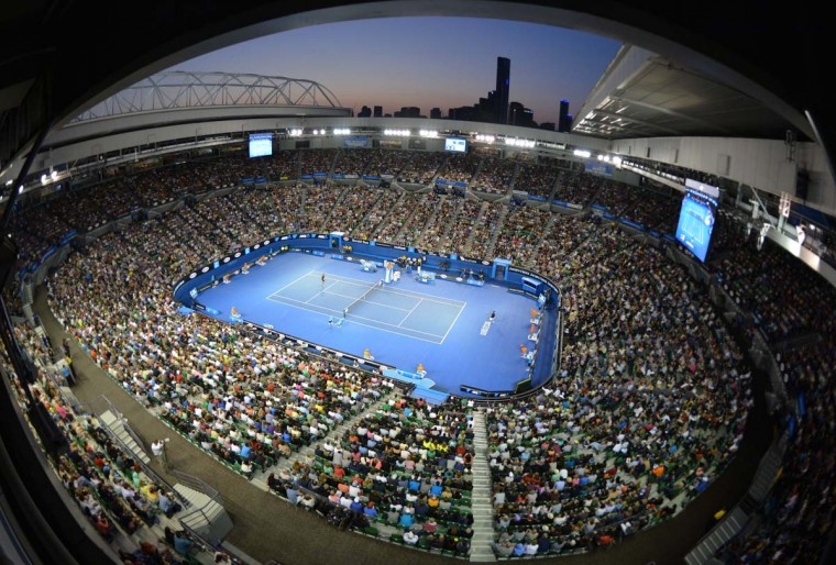 A general view shows Switzerland's Stanislas Wawrinka and Serbia's Novak Djokovic during their men's singles match on day seven of the Australian Open tennis tournament in Melbourne on January 20, 2013. (Peter Parks/AFP/Getty Images)