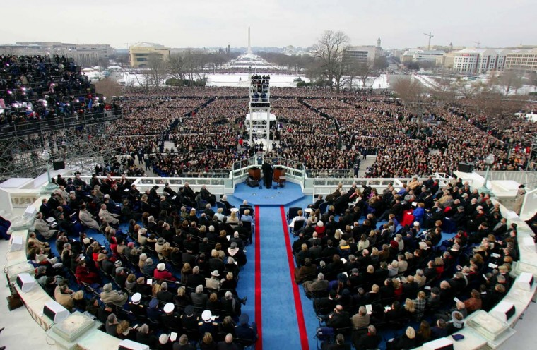 January 20, 2005 — President George W. Bush (C) gives his inaugural address to invited guests on the West side of the US Capitol on January 20, 2005 in Washington, DC. (Don Emmert/AFP/Getty Images)