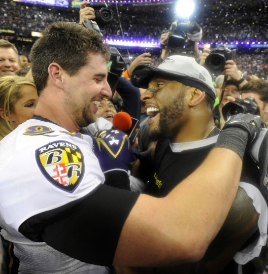 Dennis Pitta (left) and Ray Lewis celebrate the Ravens' 34-31 victory over the San Francisco 49ers in Super Bowl XLVII. (Lloyd Fox/Baltimore Sun Photo)