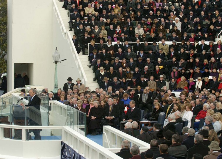 January 20, 2005 — President George W. Bush gives his inaugural speach after taking the oath of office. (John Makely/Baltimore Sun)