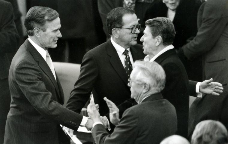 January 20, 1989 — President George Herbert Walker Bush at his swearing-in on Jan. 20, 1989. (Amy Davis/Baltimore Sun)
