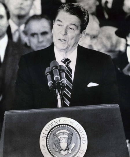 January 21, 1985 — The President of the United States, Ronald Reagan, delivers his inaugural address in the Rotunda of the Capitol Monday in Washington. (Bob Daugherty/AP File Photo)
