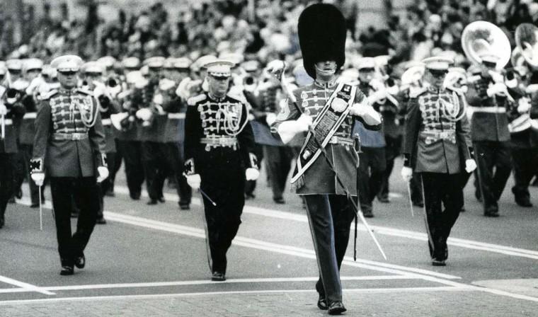 January 20, 1981 — U.S. Marine Corps band at the inaugural parade for Ronald Reagan. (Richard Childress/Baltimore Sun)