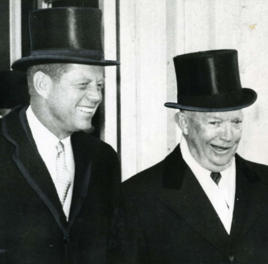 January 20, 1961 — President-elect John F. Kennedy, with President Eisenhower, as they left the White House in 1961 for Mr. Kennedy's inauguration ceremonies at the Capitol in Washington. (AP File Photo)