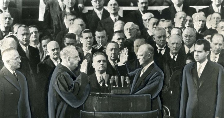 January 20, 1953 — Dwight D. Eisenhower is inaugurated as the thirty-fourth President in ceremonies. Chief Justice Fred Vinson administers the oath. Harry Truman, the outgoing president, is at left and Richard Nixon, the new vice president, is at right. (AP File Photo)