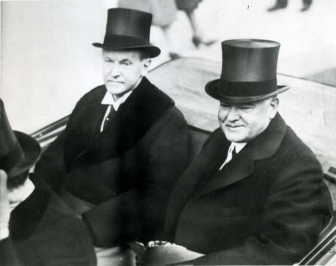 March 4, 1929 — President Calvin Coolidge and President-elect Herbert C. Hoover drive from the White House to Hoover's inauguration at the Capitol. (AP File Photo)
