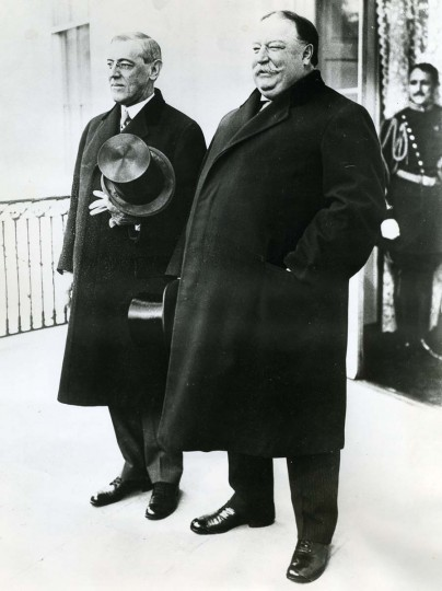 March 4, 1913 — Before the fates disclosed the mighty stage upon which Woodrow Wilson was to act. He is shown here with William Howard Taft at his first inauguration in 1913. Previously, Taft was inaugurated March 4, 1909. (AP File Photo)