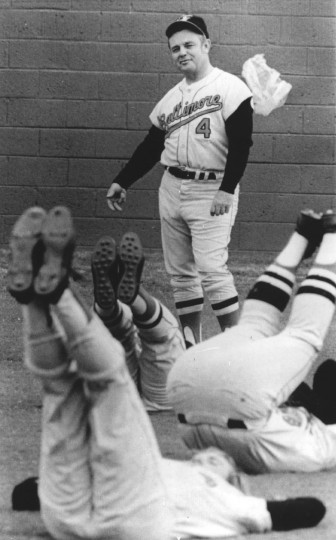 Feb. 18, 1971: Manager Earl Weaver looks over his pitchers and catchers as they warm up on the first day of spring training. (file photo)