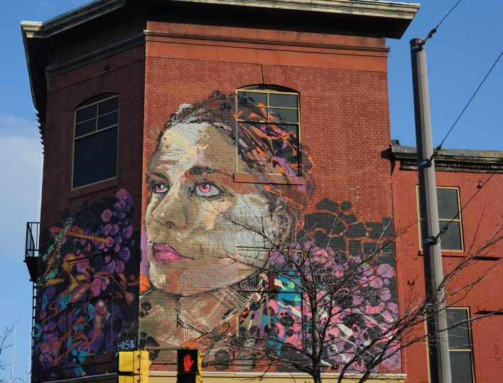 HKS181 created this mural at the corner of Franklin St. and Howard St. (Articulate: Baltimore project) (Algerina Perna/Baltimore Sun)