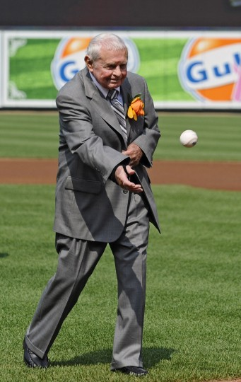 June 30, 2012: Former Orioles manager Earl Weaver throws out the first pitch during a pre-game ceremony on the day his statue was unveiled. (Kenneth K. Lam/Baltimore Sun photo)