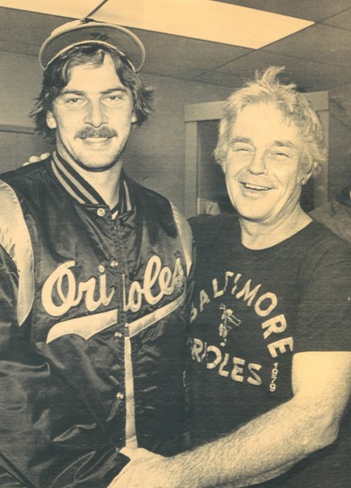 October 1979: Mike Flanagan and Earl Weaver after Flanagan's winning effort in the first game of the World Series in 1979. (AP file photo)