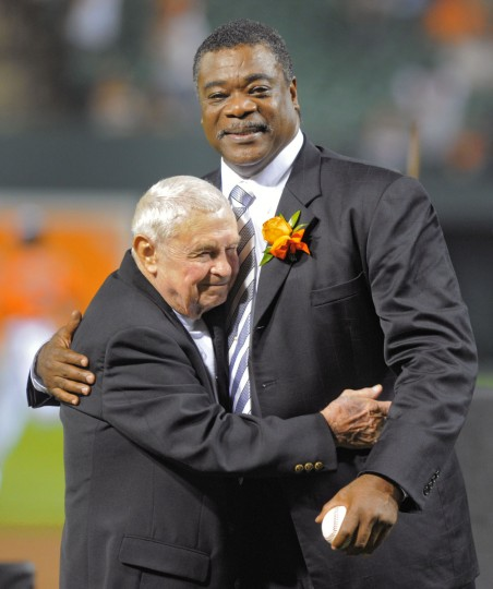 Aug. 11, 2012: Former Oriole first baseman Eddie Murray embraces his old manager Earl Weaver during a pre-game ceremony following the unveiling of a statue bearing his likeness at Oriole Park at Camden Yards. (Karl Merton Ferron/Baltimore Sun photo)