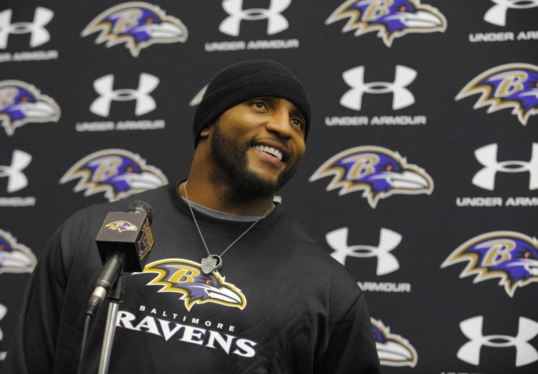 Baltimore Ravens' Ray Lewis speaks at a press conference where he announces that this will be his last season playing NFL football and he will retire after the season. (Lloyd Fox/Baltimore Sun)