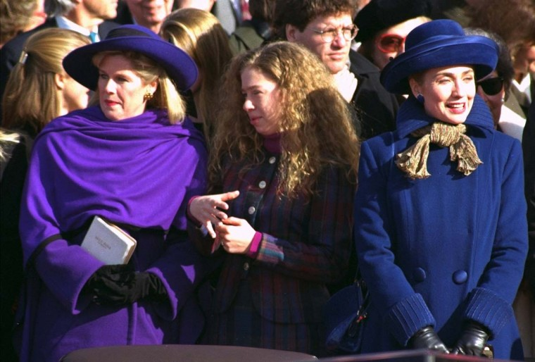 January 20, 1993 — Tipper Gore, Chelsea Clinton, center, and Hillary Rodham Clinton, look on during the inaugural ceremony for President-elect Clinton inauguration Jan. 20, 1993. (Ed Reinke/AP File Photo)