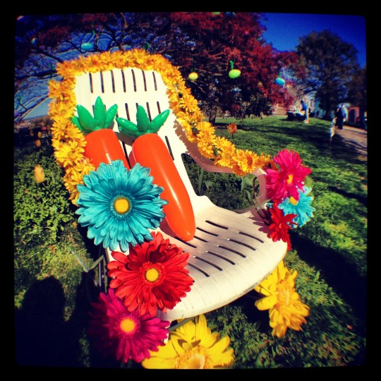 This is a shot of the Easter Bunny chair at the annual Easter egg hunt in Federal Hill Park. The color and subject matter captured the essence of the coming of spring. (Credit: John David Brock)