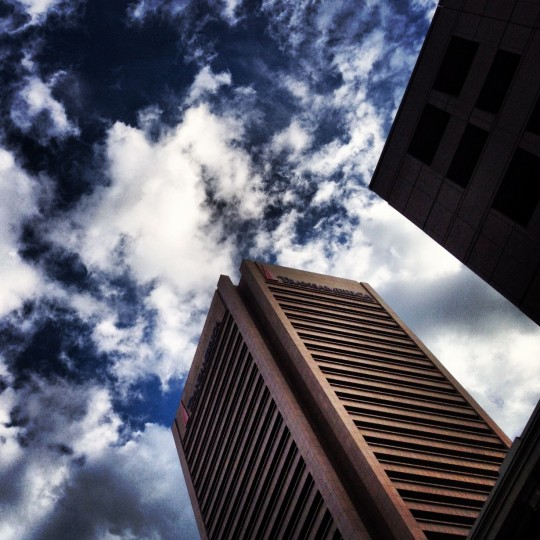 This shot is of the Transamerica building in downtown Baltimore. I shot this with my iPhone through the moon roof of my car while I lied in traffic. Just happened to look up and there it was. (Credit: John David Brock)