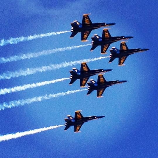 This is a shot of the Blue Angels who flew over during Baltimore's Sailibration. It was captured from a rooftop deck and really illustrates how low the planes were flying that day. (Credit: John David Brock)