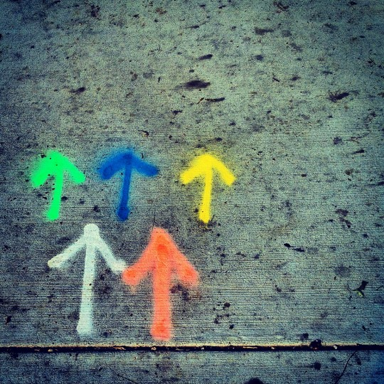 A spontaneous shot of multi-colored arrows painted on the sidewalk at Riverside Park. This is one of those pictures that comes out of nowhere and I tag #everydayart. (Credit: John David Brock)
