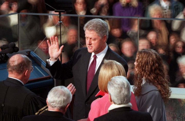 January 21, 1997 — President Clinton, is sworn in at the inauguration for his second term as President. (Gene Sweeney Jr./Baltimore Sun)