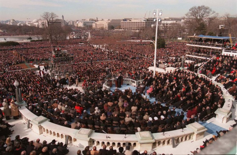January 21, 1997 — This is the over-all view during President Clinton's inauguration speech. (Gene Sweeney Jr./Baltimore Sun)