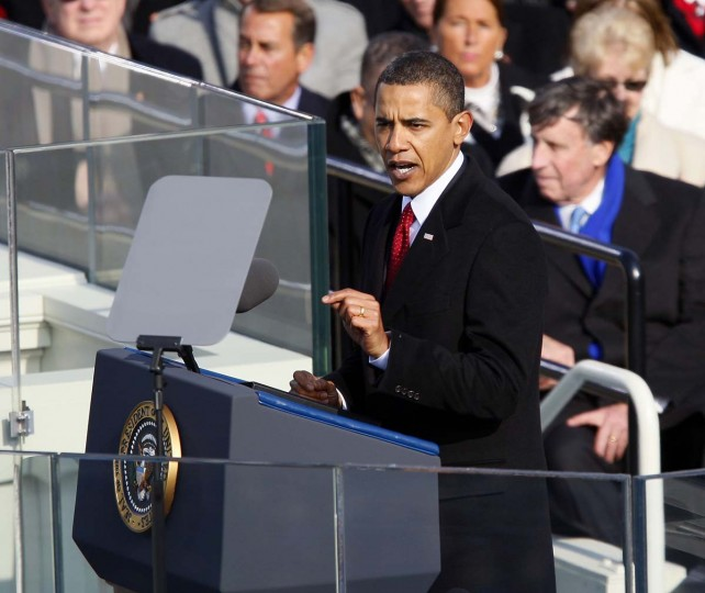 January 20, 2009 — President Barack Obama delivers his inaugural address after taking the oath as the 44th U.S. President at the U.S. Capitol in Washington, D.C., Tuesday, January 20, 2009. (Harry E. Walker/MCT)
