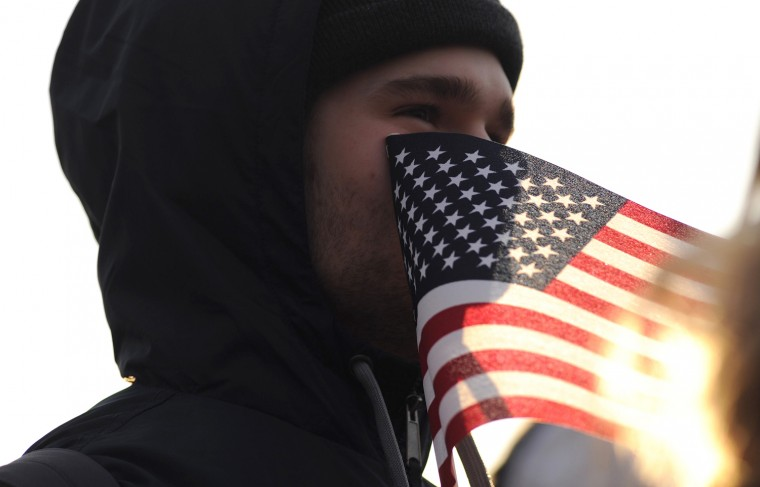 Stephen McCarter, of Chesterfield, Virginia, stayed overnight with friends so that he could be on the National Mall early for the inauguration. (Andre Chung/MCT)
