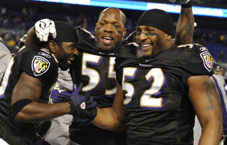 Ed Reed (left), Terrell Suggs (center) and Ray Lewis celebrate the Ravens' 24-10 win over the Washington Redskins on Dec. 7, 2008. (Lloyd Fox/Baltimore Sun Photo)