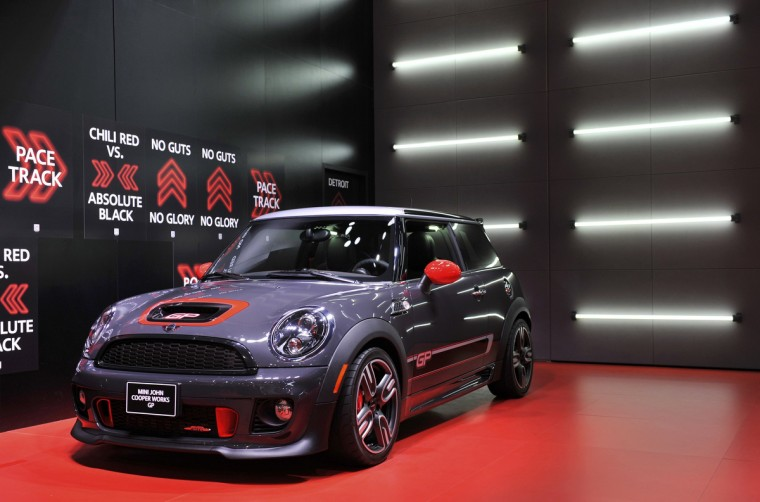 The 2014 Mini John Cooper Works GP is displayed at the North American International Auto Show in Detroit, Michigan. (James Fassinger/Reuters photo)