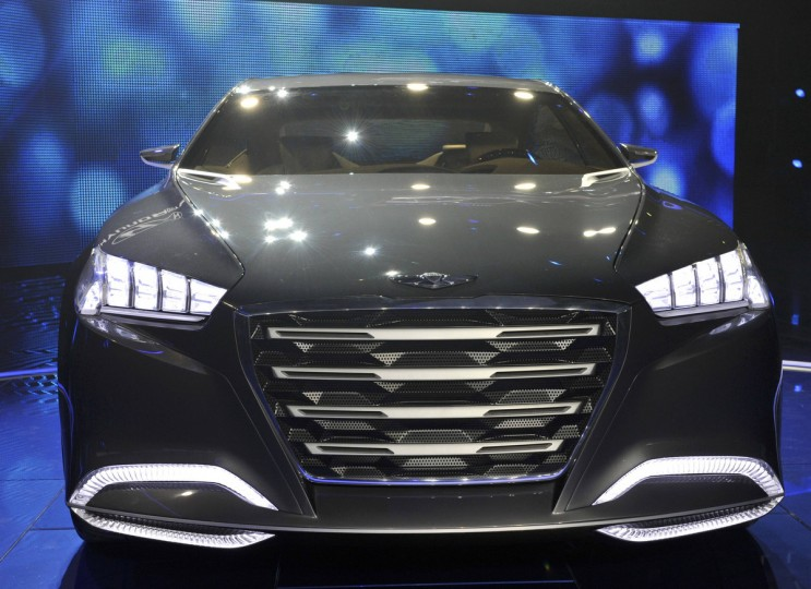 Close-up view of the Hyundai HCD14 luxury concept as it is unveiled at the North American International Auto Show in Detroit, Michigan. (James Fassinger/Reuters photo)