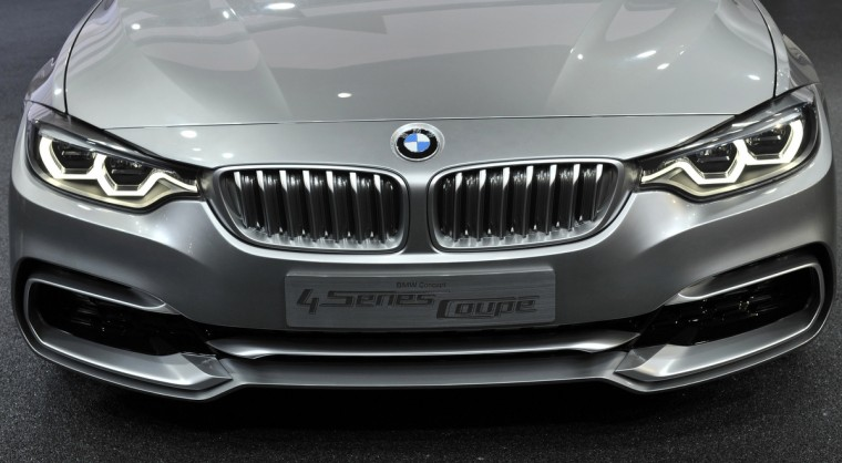 Close up view of the front of the BMW 4 Series Concept coupe as it is displayed at the North American International Auto Show in Detroit, Michigan. (James Fassinger/Reuters photo)