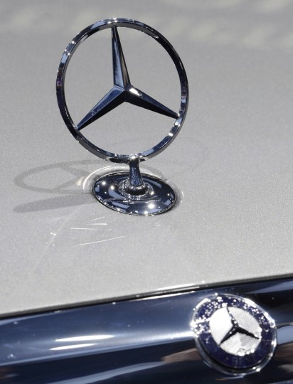 View of the Mercedes Benz ornament and logo on an E Class model at the North American International Auto Show in Detroit, Michigan. (James Fassinger/Reuters photo)